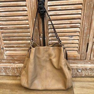{Coach} Light Tan Slouchy Bag with Side Logo